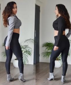 Lovina Crop Blazer Top Zwart|Grijs