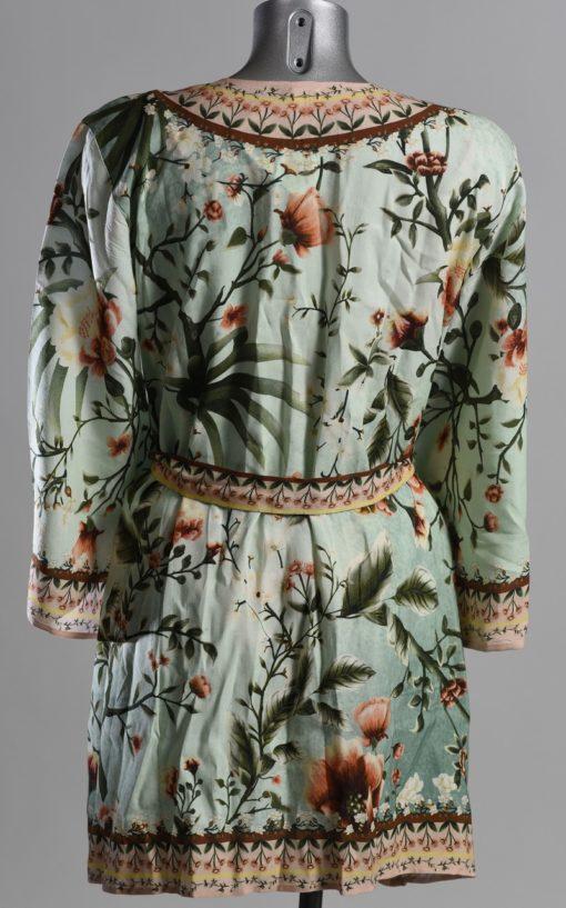 Achterkant Korte Mintgroene Kimono Bloemen Print