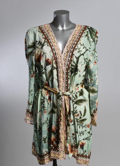 Voorkant Korte Mintgroene Kimono Bloemen Print