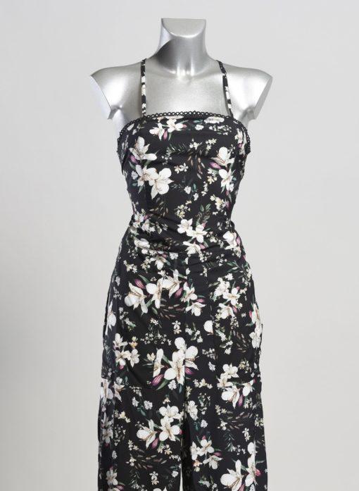 Zwarte jumpsuit bloemenprint van agua bendita