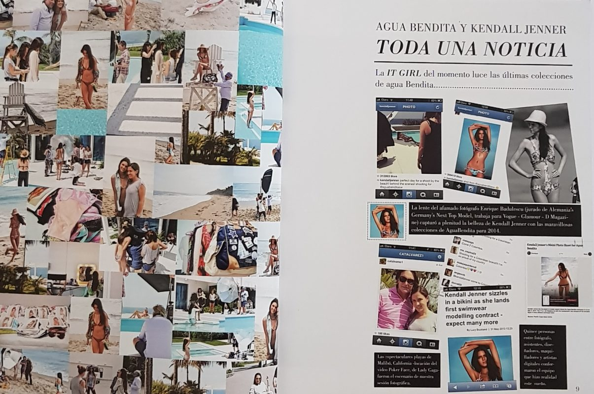 Diverse fotos van kendall jenner samen met catalina alvarez designer agua bendita swimwear