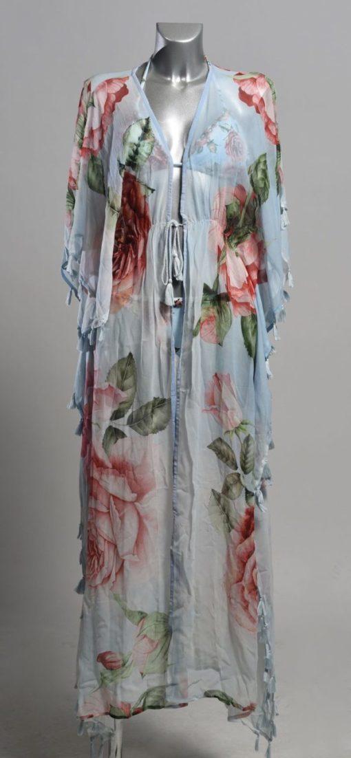 Paspop met Lichtblauwe Lange Kimono met Rozenprint