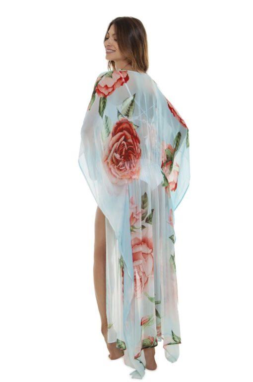 Achterkant Lichtblauwe Kimono Lang met Rozenprint van merk Agua Bendita